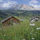 Ein weitläufiges Hochplateau mit zahlreichen Wanderwegen erstreckt sich vor der Kulisse der Dolomiten im Gadertal