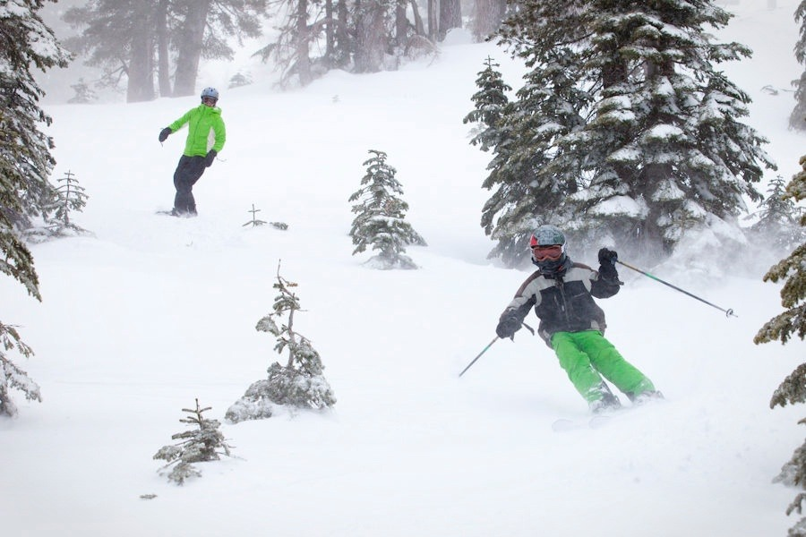 Skiers, snowboarders, kids, and adults all enjoy making fresh turn in the trees. Photo by Sasha Coben