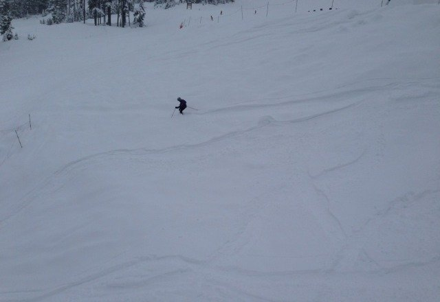knee deep in places.  great conditions. lines are NOT long.