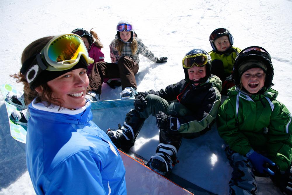 A snowboard class in Park CIty, Utah