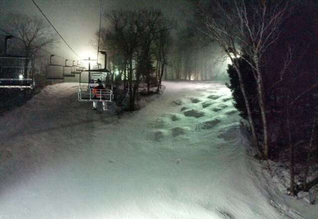 It's a hill.... a big hill. It was $26 for a night session. The night we went it was 35? and light wintery mix precipitation on and off throughout the night. Trails open had decent enough coverage with no ice. Was more like spring conditions. Soft, wet snow...
