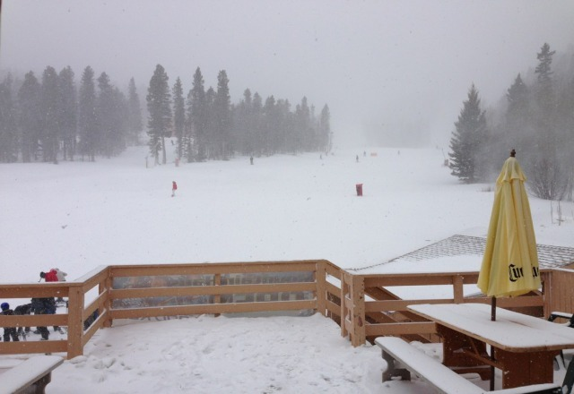 It's coming down! Snow is getting good.