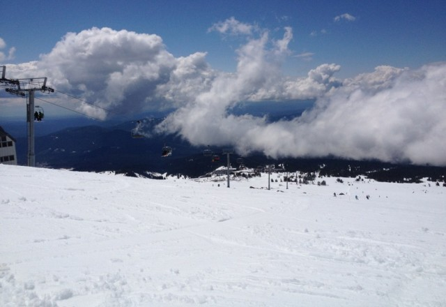 Beautiful day at timberline. Palmer has a ton of powder.