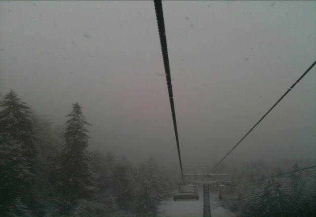 powder on top and rain at the station
