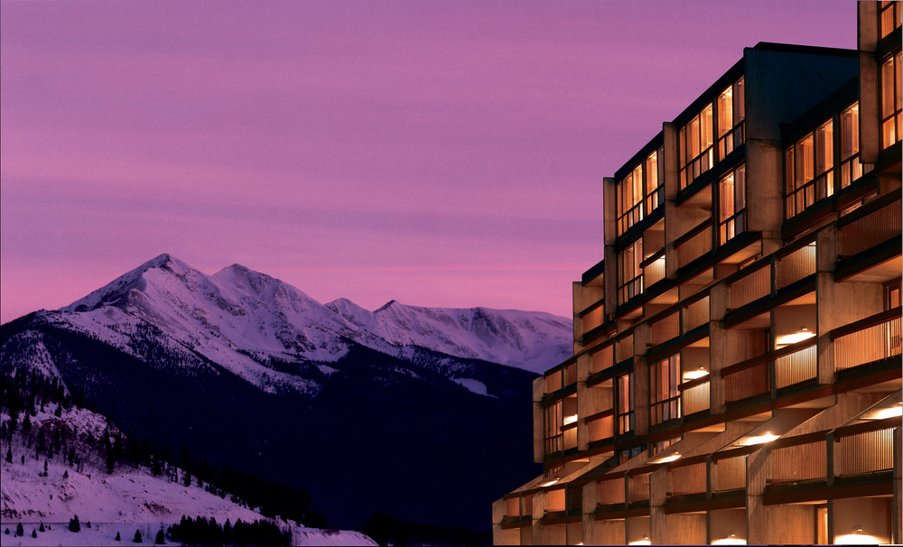 A view of the Keystone Lodge in Keystone, Colorado at night.