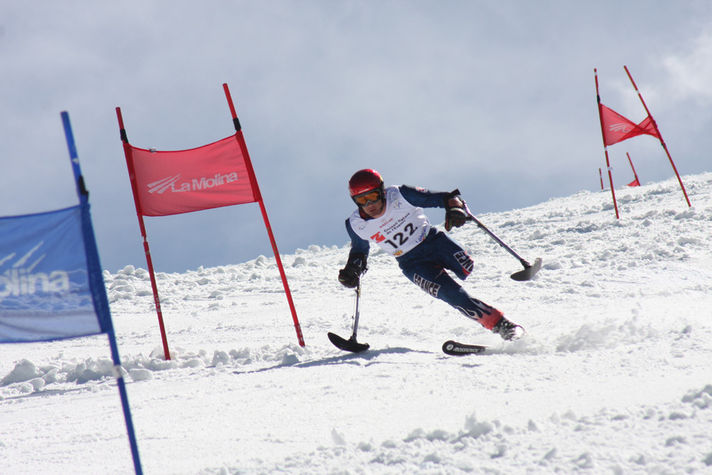 A ski racer at La Molina, Spain.