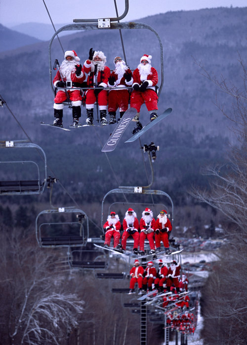 Santas on chairlifts at Sunday River, ME