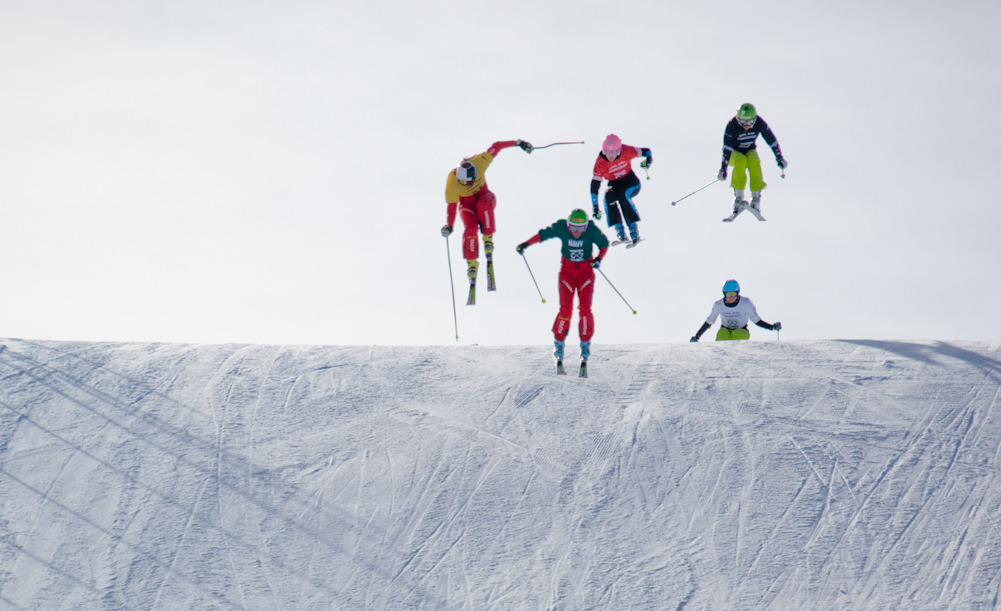 Women competitors fly towards the finish line on the Skiier X course. By Sasha Coben