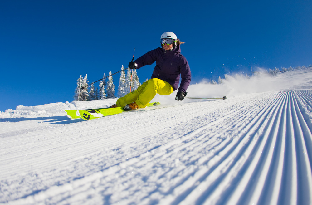 Buffed intermediate groomers are found off the Dreamcatcher quad at Grand Targhee. Photo by Grand Targhee Resort