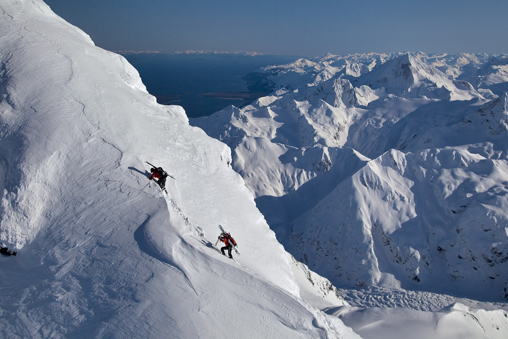 Reggie Crist and SEABA owner and lead guide Scott (Sunny) Sundberg hiking for the first descent of Rainbow Peak. Photo by Will Wissman