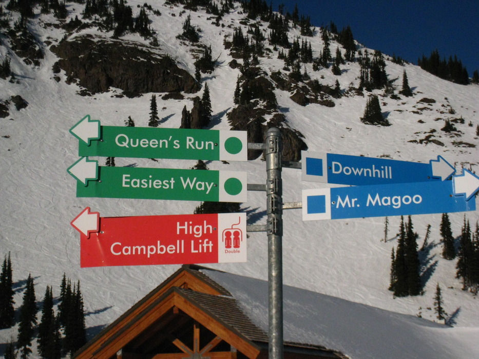 Trail signs at Crystal Mountain, Washington. Photo by Becky Lomax