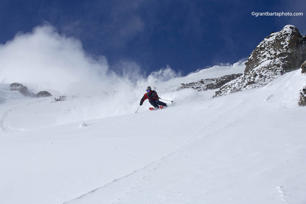 A skier heads down a run at Sugar Bowl Ski Resort, California