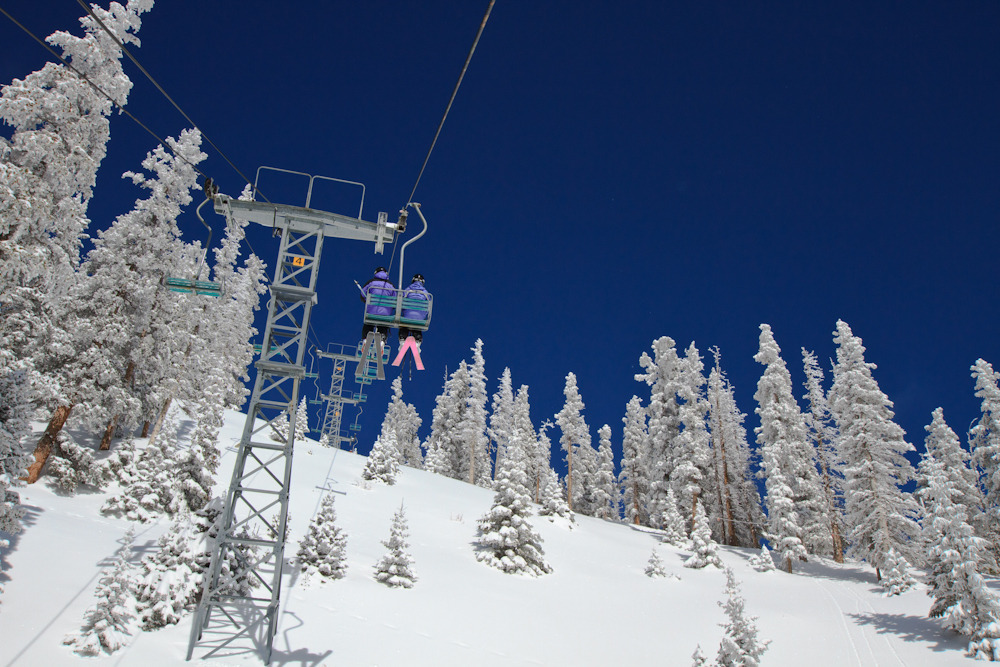 Bluebird powder day at Taos. Photo by Liam Doran