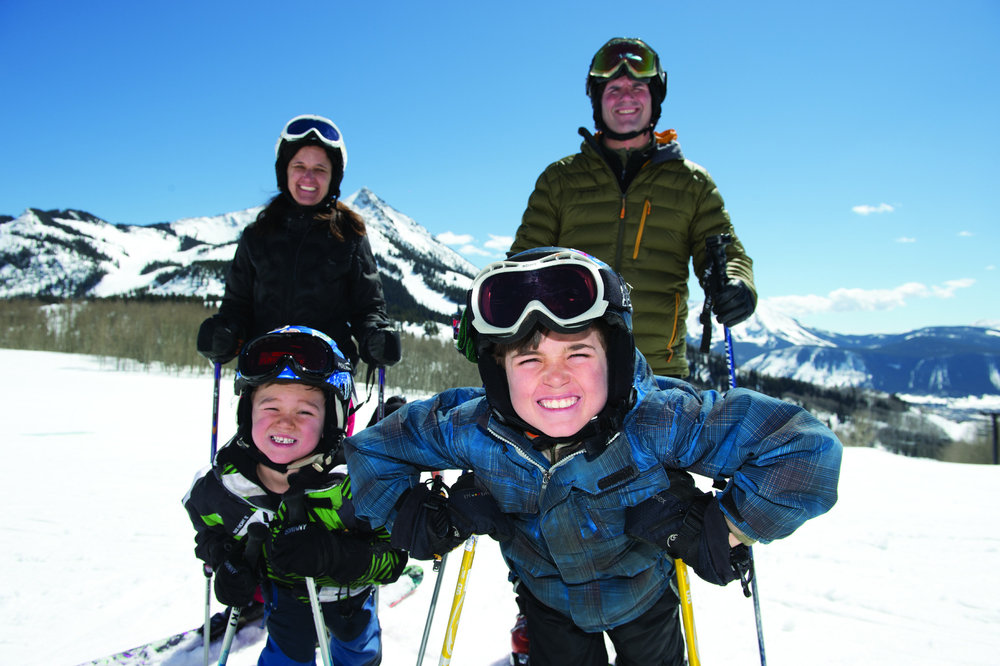 Family photo ops are unlimited between runs at Crested Butte Mountain Resort.