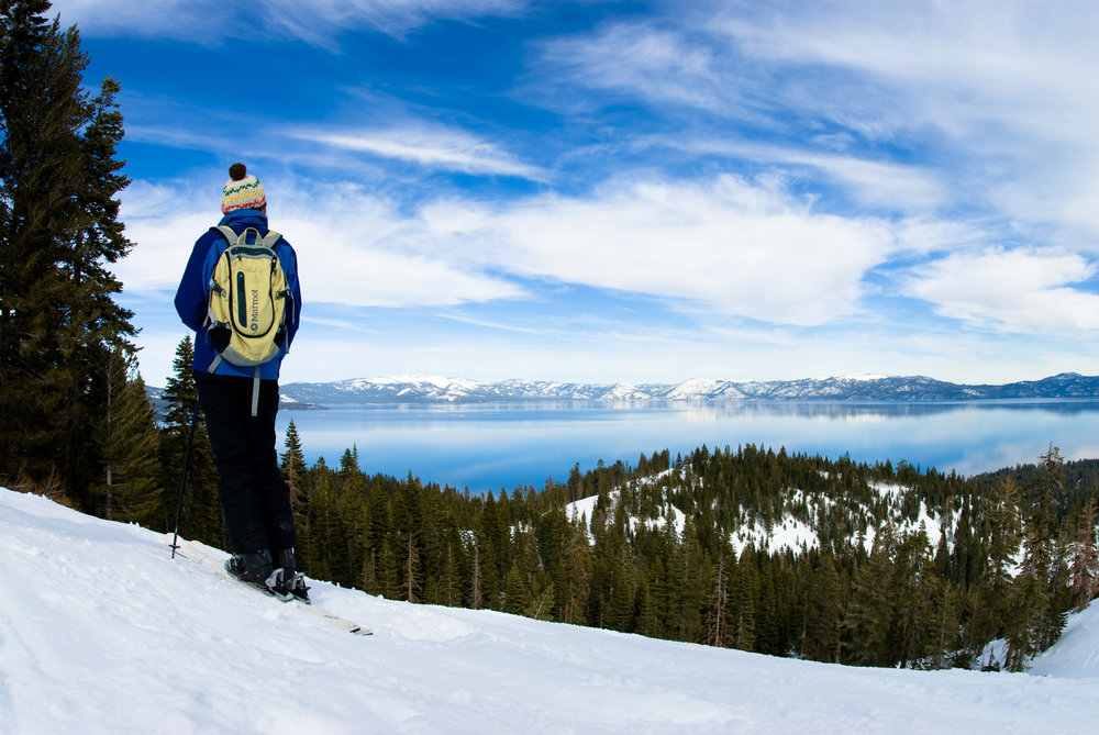 This skier gets a stunning view of Lake Tahoe from Homewood Mountain Resort, California