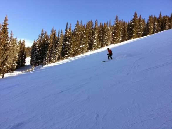 Great day at Vail! Sunny and warm. Lots of terrain open. Front side is a little icy. Back bowls (except Blue Sky) have some terrain open. That's where to spend your time!