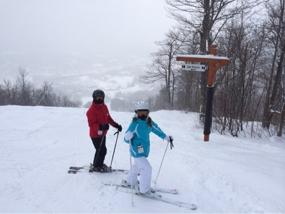 Awesome snow. Good base. Packed powder, powder. Little ice. Superb Northeast Conditions. People are super friendly here. Went yesterday. We will be back soon!