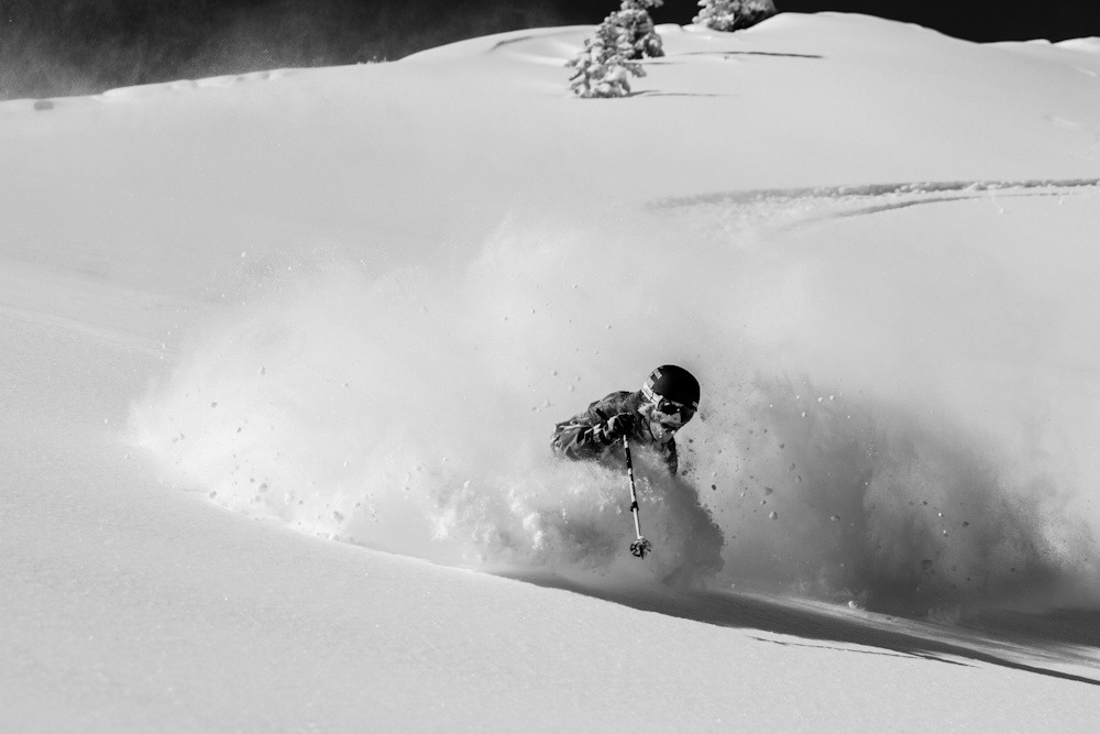 Open powder fields in Catherines Area keep powder lovers coming back for more. Photo by Liam Doran