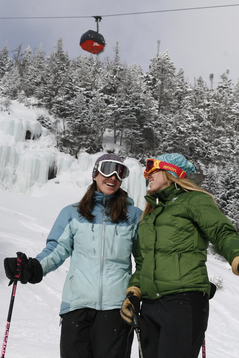 Two women skiers in Stowe, Vermont