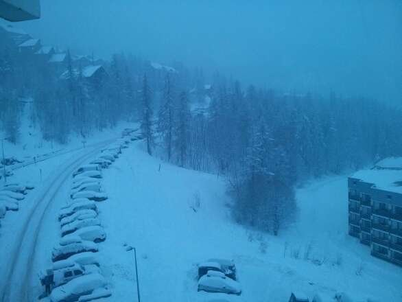 snow still falling, looks like it should be a good day :)
