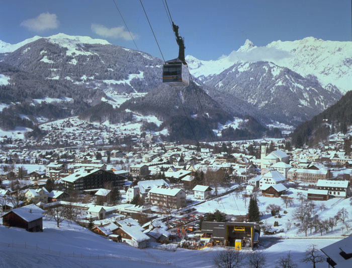 Cable car above village of Schruns