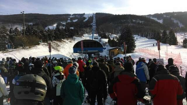 The Lift Lines are absolutely out of control!  The skiing if you don't mind 30+ minute lift lines is pretty good.  Some Ice but nothing crazy.  Lots of Beginners everywhere...