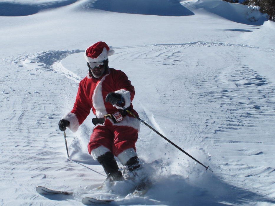 Santa stops in for some Peak 6 pow at Breckenridge.