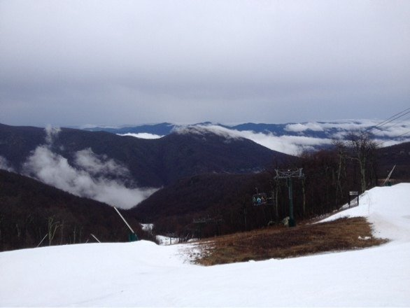 Great day on the slopes. Highlands area was in good condition despite the rain