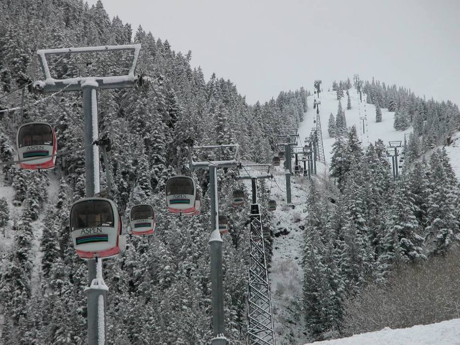 A view of gondolas and chair lifts in Aspen Mountain, Colorado