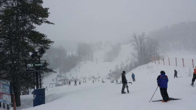 Sorry. This was 1 pic from 1/25/14 when the snow was light. There were many white out runs it was so heavy.
