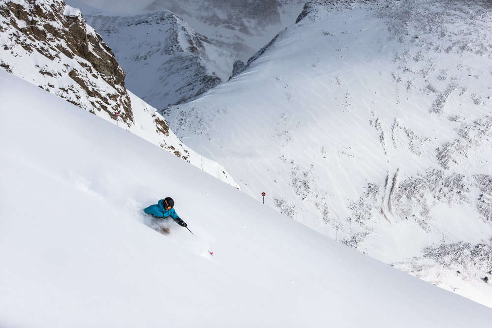 Keegan Capel hits the mark in Bootleg Bowl, Lake Louise. - ©Liam Doran