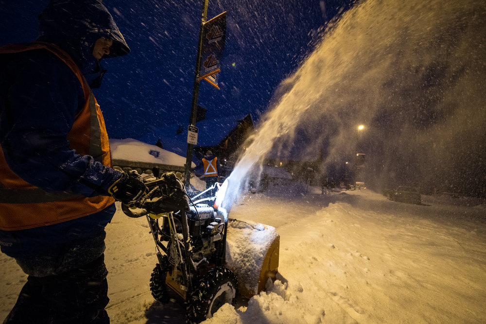 Still dark at 8:15 in the morning in the great white north. Fantastic powder conditions all week in Banff. - ©Liam Doran