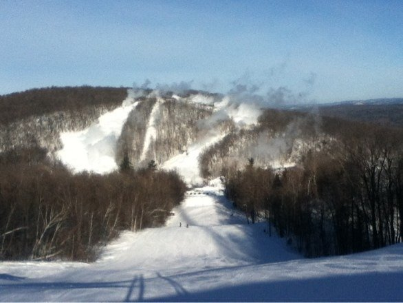 Blowing snow over on the t-bar! Excited fot it to open!