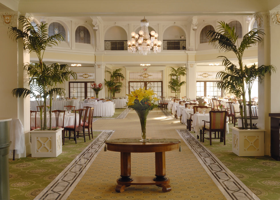 A view of the dining room inside the Mt. Washington hotel in Bretton Woods, New Hampshire