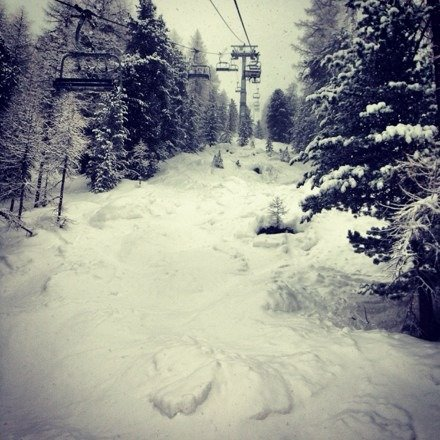 Snowed all night and day...fresh powder on top of packed groomed...bluebird tomorrow.