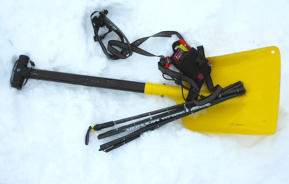 Sidecountry skiers and snowboarders should carry the proper gear: beacons, probes and shovels. - ©Becky Lomax