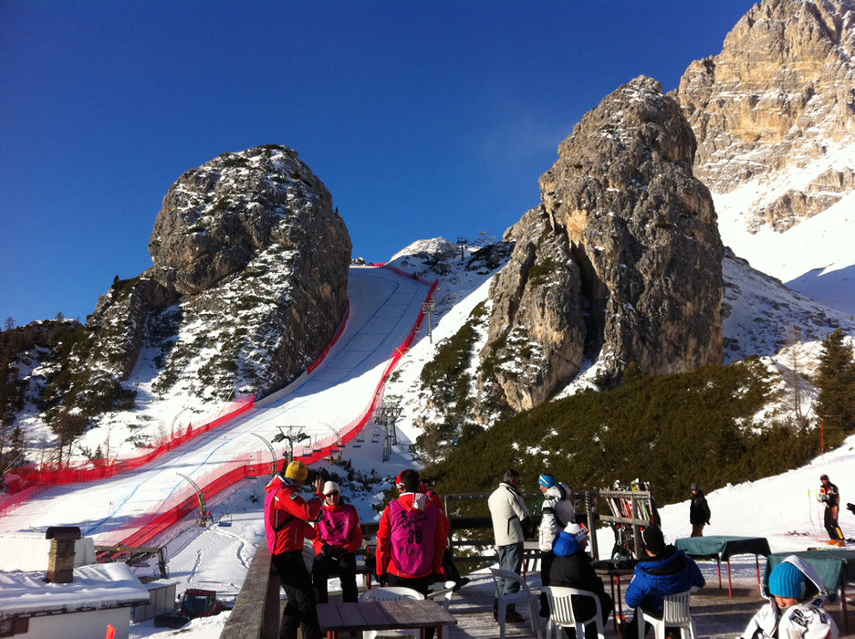 The best place to view the Cortina World Cup is from the Rifugio Duca D'Aosta. - ©Shauna Farnell