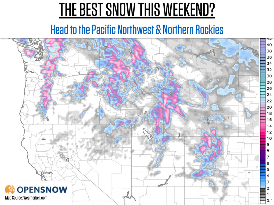 The best skiing this weekend will be in the Pacific Northwest and Northern Rockies. - ©Weatherbell.com