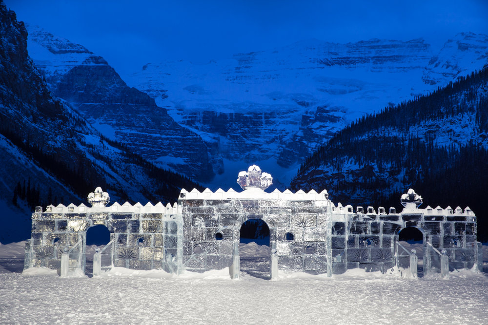 Impressive ice castle on Lake Louise.