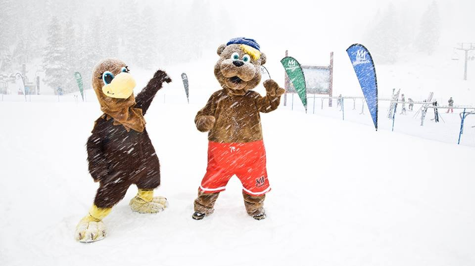 Mammoth Mountain mascots doing some snow-dancing.