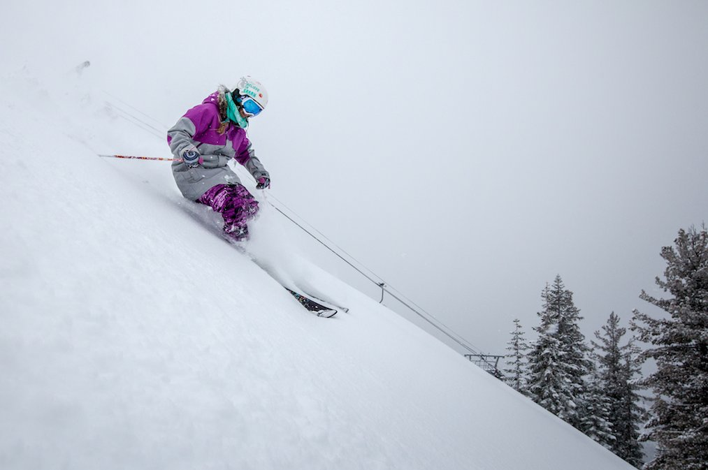 Skier Britney White enjoying the fresh layer of snow at Northstar.
