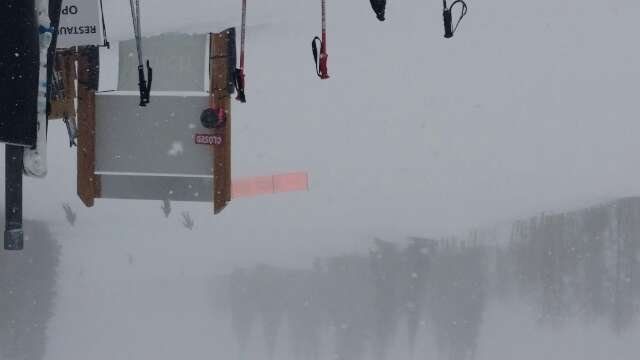 major snow started at 11 am. We are at the top of crescent lift in a white out.