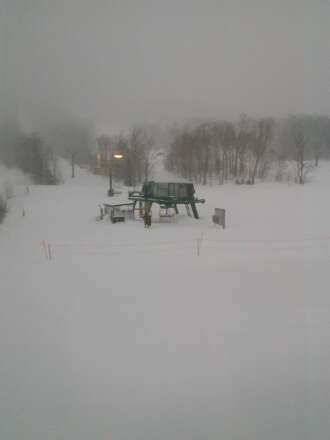 its been snowing all day and supposed to snow all night at the rate of  3  cm per hour. tomorrow will be epic.