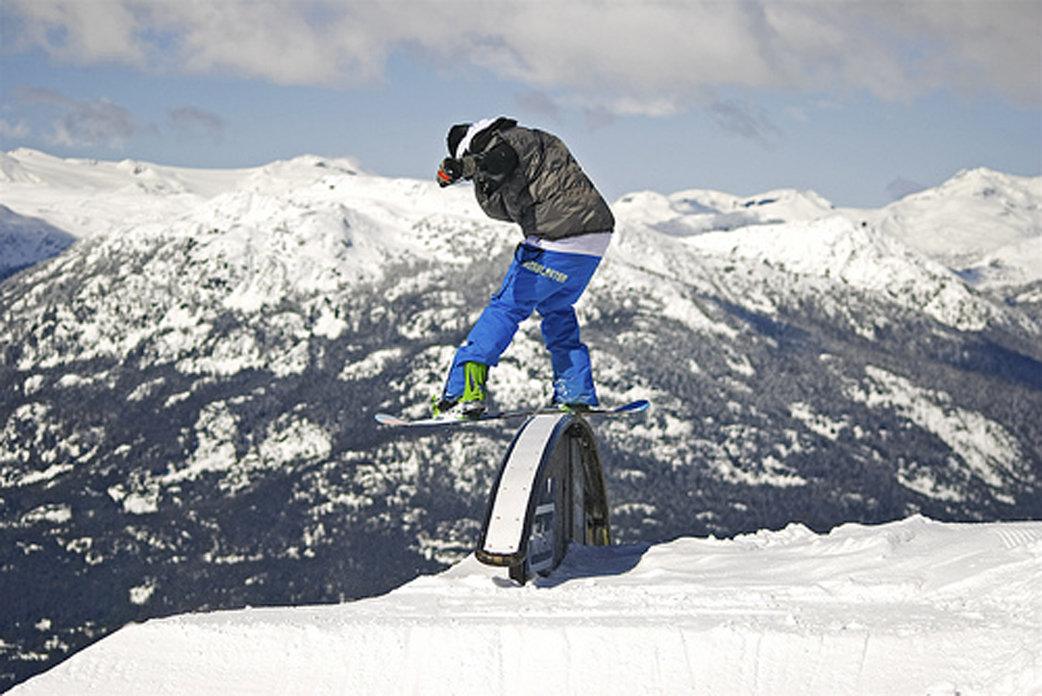 Spring freeriders can work the rails on Blackcomb Mountain.