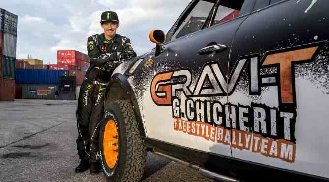 The French stuntman Guerlain Chicherit prepares for a sensational stunt in Tignes on March 16