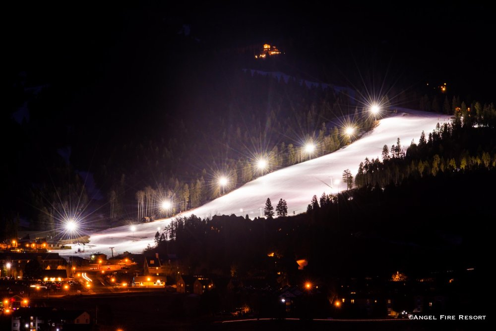 Get your night ski on at Angel Fire Resort, New Mexico.