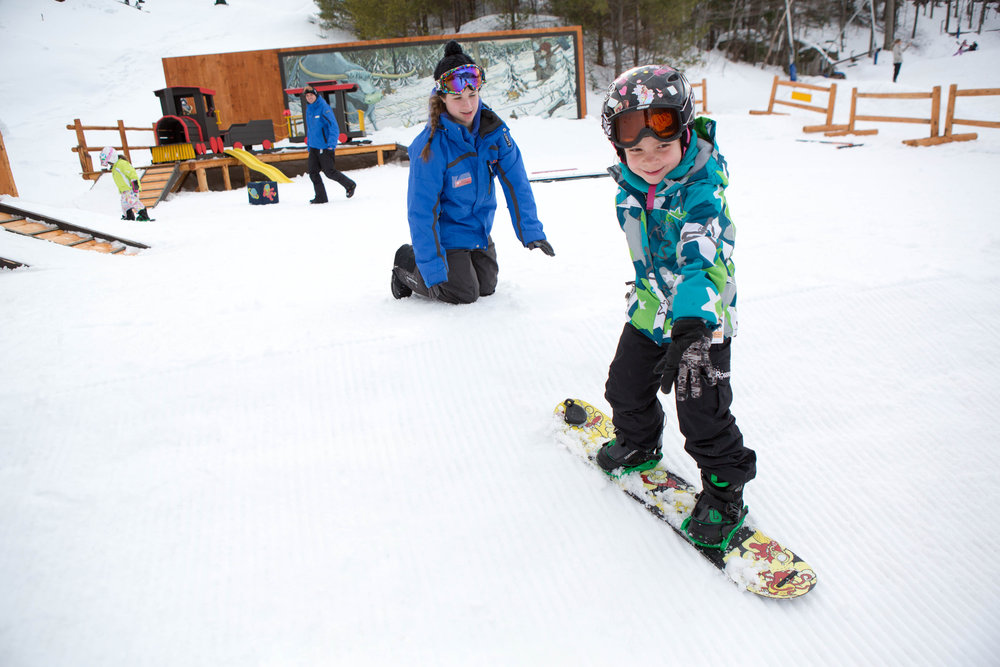 Kids as young as 3 years old can learn to snowboard at Loon's Burton Riglet Park.