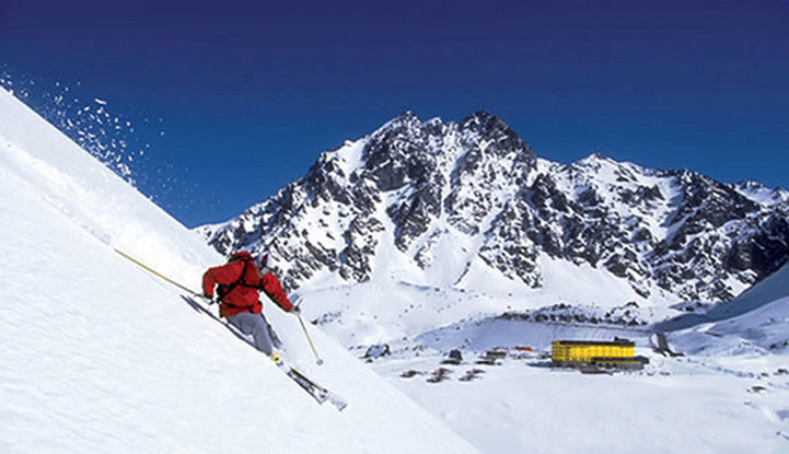 Summer ski resort: Nothing but powder and the iconic yellow hotel in Portillo, Chile.