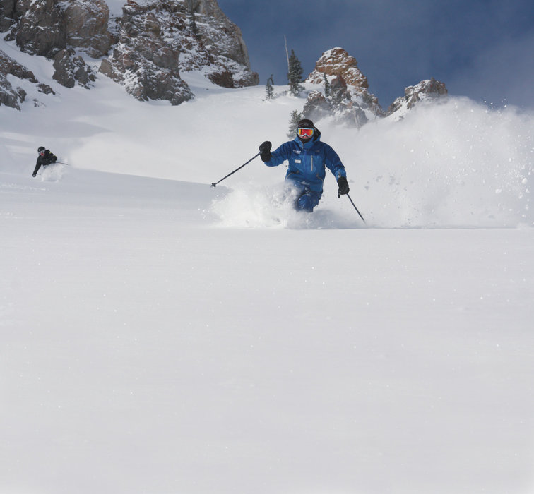 Getting schooled in the art of powder skiing at Snowbird.