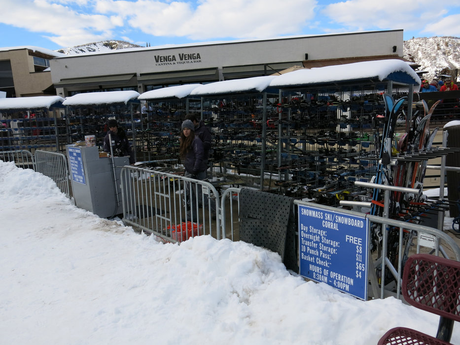 Ski/snowboard corral in Snowmass